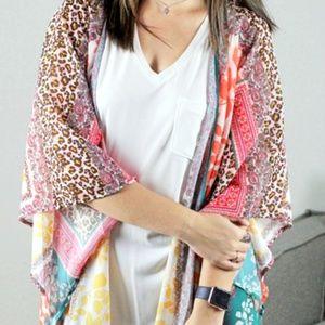 NWT Umgee animal print floral mix kimono sz 1X